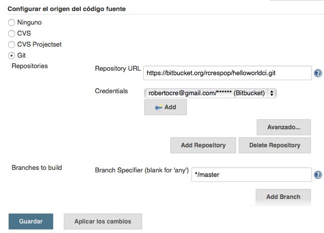 Configuración del repositorio Git al que se debe conectar Jenkins para descargar la aplicación.