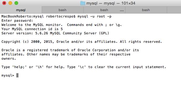Shell consola MySQL en Mac
