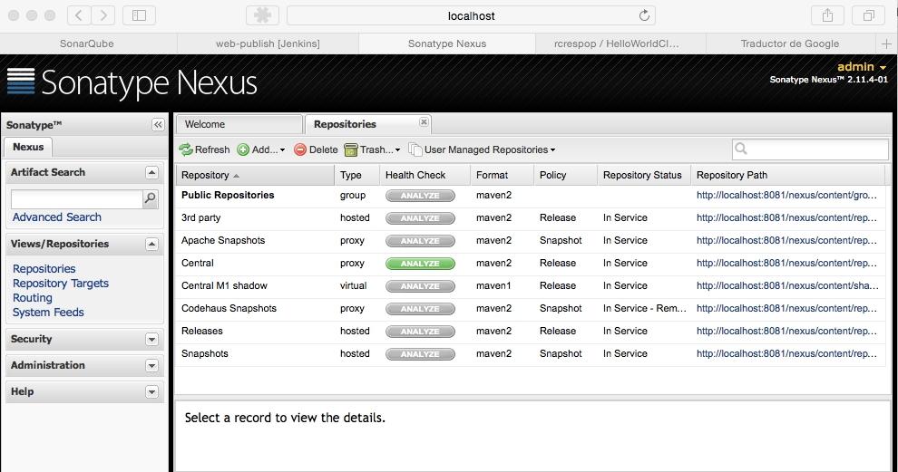 Pantalla en el navegador de Nexus OSS