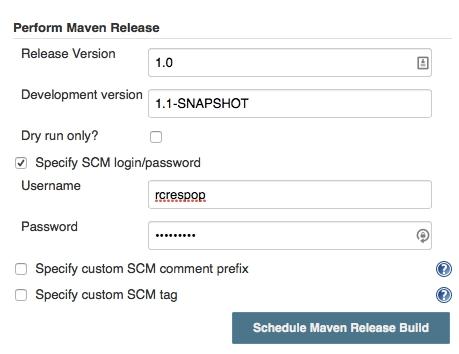 Configuración del plugin Perform Maven Release
