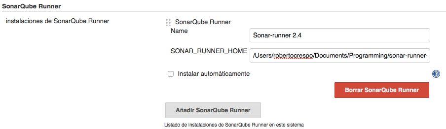 Configuración de SonarQube Runner en Jenkins