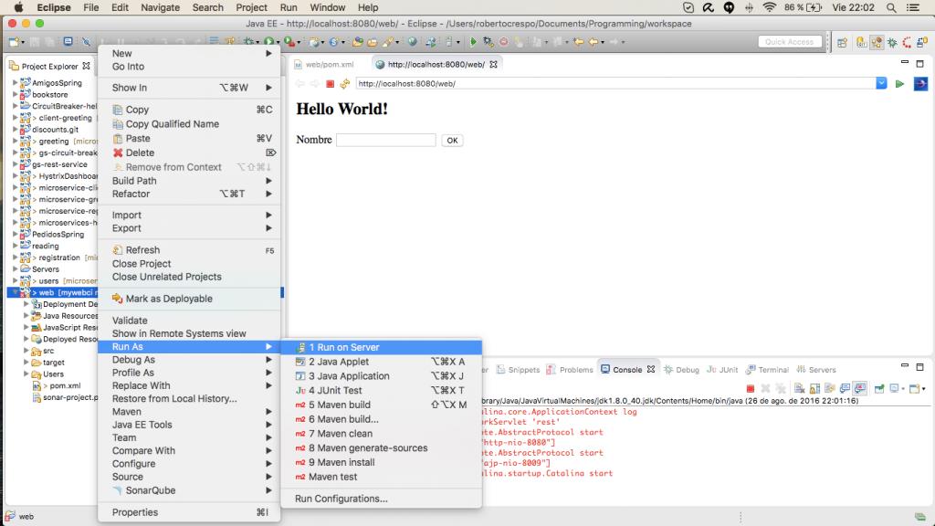 ejecución web
